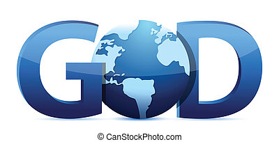god text and globe illustration design over a white background