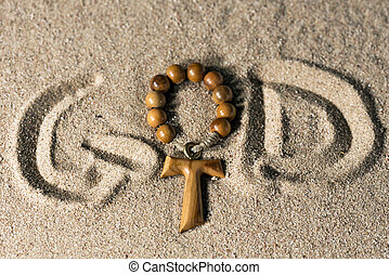 God - Written on Sand with Cross