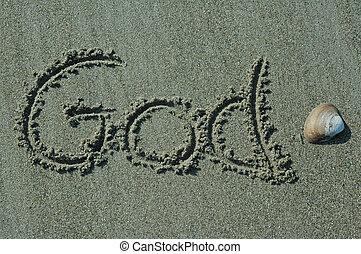 god, zand, -, schrijvende