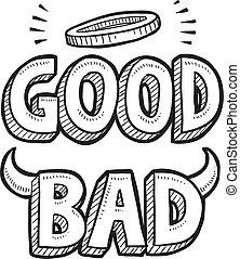 goda och dåliga, moralisk, val, skiss