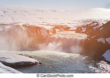 godafoss, アイスランド, 滝