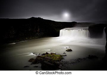 godafoss, アイスランド, 滝, 夜, 光景