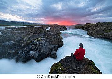 godafoss, アイスランド, 滝, 風景