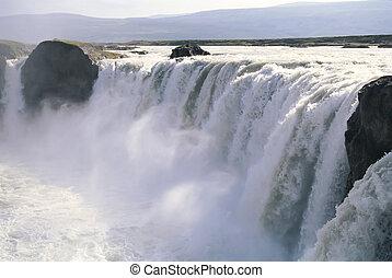 godafoss, 瀑布, 冰岛