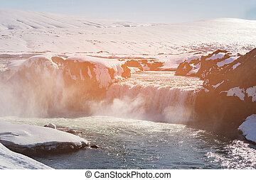 godafoss, 폭포, 아이슬란드