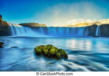 godafoss, islande, chute eau, coucher soleil