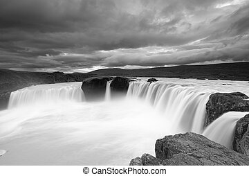Godafoss waterfall b&w