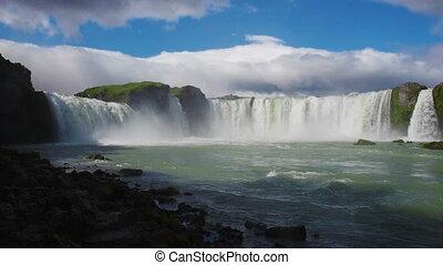 Godafoss waterfall in Iceland - HD video of beautiful,...