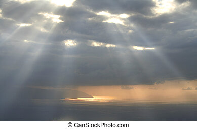 goddelijk, licht, hemel