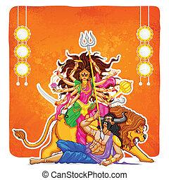 Goddess Durga in Subho Bijoya (Happy Dussehra) background - ...