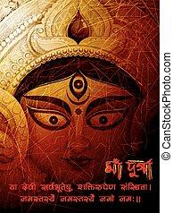 Goddess Durga in Subho Bijoya Happy Dussehra background -...