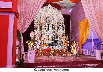 goddess durga pandal in durga puja - goddess durga pangal in...
