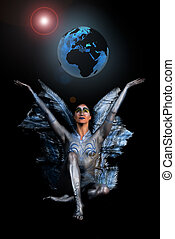 Goddess Gaia, mother of earth holding world globe on stretched hand. Studio, dark background.