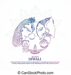 goddess lakshmi and lord ganesha creative happy diwali background