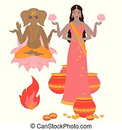 Goddess Lakshmi and Lord Ganesha, Holiday background for light festival of India. Happy Diwali card