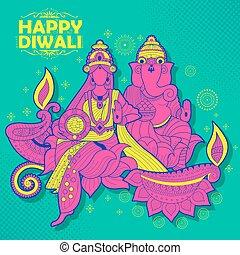 Goddess Lakshmi and Lord Ganesha on happy Diwali Holiday doodle background for light festival of India