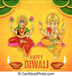 Goddess Lakshmi and Lord Ganesha on happy Diwali Holiday...