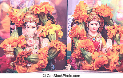Goddess Lakshmi and Lord Ganesha - retro style - goddess...