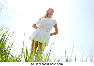 Goddess - Photo of graceful female in white chiffon dress...