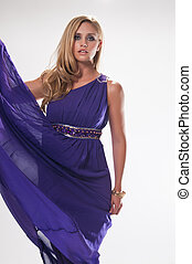 Goddess - Beautiful tall blonde in the costume of a Greek...