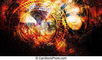 Goddess Woman and eagle and zodiac in Cosmic space.