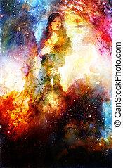 Goddess Woman holding cosmical light sword. Cosmic background.