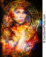 Goddess Woman in Cosmic space and zodiac.
