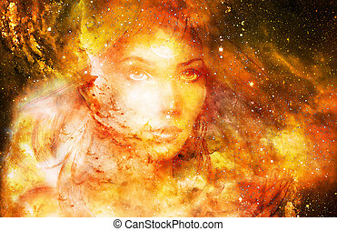 Goddess Woman in Cosmic space. Cosmic Space background. eye contact. Fire effect