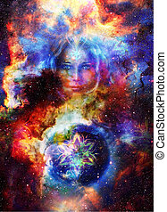 Goddess Woman with ornamental mandala and planet earth. Cosmic Space background