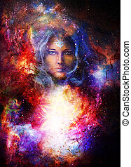 Goddess Woman with ornamental mandala in Cosmic space....