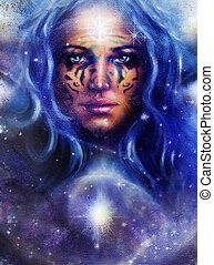 Goddess Woman with tattoo on face in space with light stars....