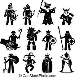 gode, ancient, kriger, karakter