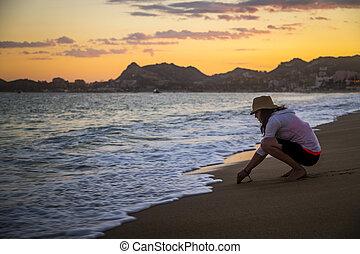 gode, donna, spiaggia, tempo, messico