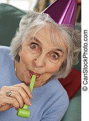 godere, anziano, celebrazioni, festa, donna