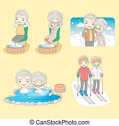 godere, coppia, vecchio, vita