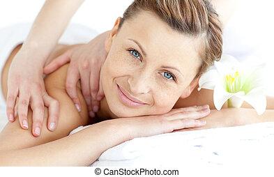 godere, donna, ammirato, massaggio, indietro