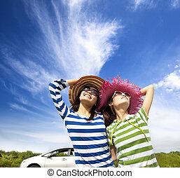 godere, donna, giovane, vacanza, viaggio, strada, felice