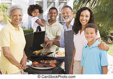 godere, famiglia, barbeque