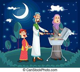godere, famiglia, musulmano, barbeque
