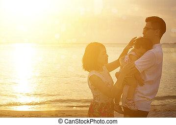 godere, famiglia, spiaggia, vacanza, tramonto, vacanza