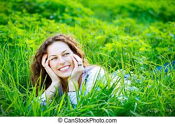 godere, outdoors., donna, giovane, natura