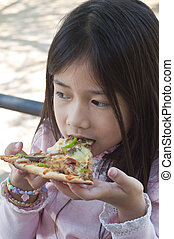 godere, ragazza, mangiare, asiatico, pizza.