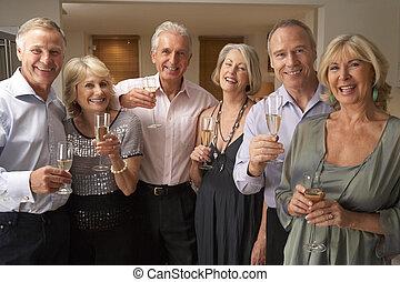 godere, vetro, festa cena, champagne, amici