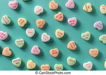 godis, konversation, hjärtan, för, valentindag