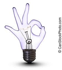 godke, hånd, lampe, pære, på hvide, (with, avisudklippet,...
