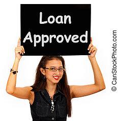 godke, lån, aftalen, tegn, kredit, anerkendt, show