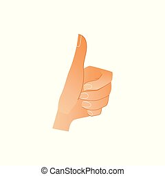 godke, menneske, viser, -, isoleret, oppe, håndled, tommelfingre, baggrund, hvid, hånd, tegn., gestus, ligesom