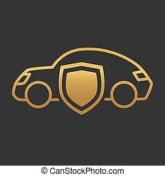 godlen car with shield, insurance concept- vector illustration