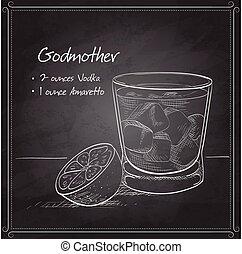 godmother, noir, planche, cocktail, alcoolique