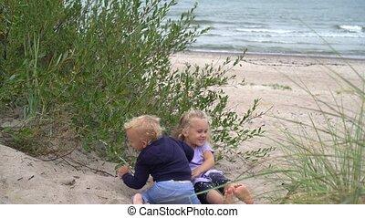 godny podziwu, dzieci, diuna, zabawa, sand., mieć, plaża, ...